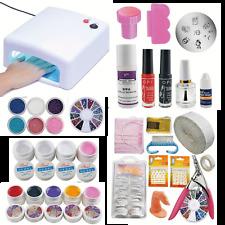 Kit Completo ricostruzione unghie con Lampada 36W,gel colorati uv, gel glitter