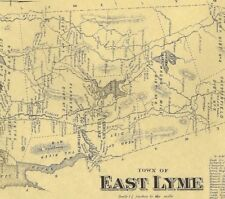 East Lyme Niantic Chesterfield Golden Spur CT 1868 Map Homeowners Names Shown