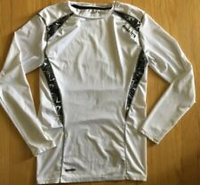 MMA Elite Workout Shirt Long Sleeves White Gray Dri Tec Sz L Large