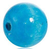 30 Stück Runde Hinoki Holzperlen Malachitblau 20 mm Perlen Loch Holz Basteln Diy
