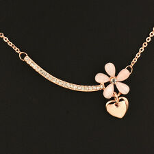 2017 18K Rose Gold Charm Opal Flower Heart Pendant Necklace For Women