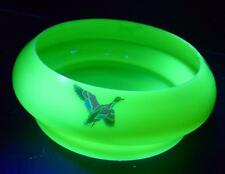 UNUSUAL VINTAGE DUROVE CUSTARD YELLOW URANIUM GLASS DUCK BIRD SALAD FRUIT BOWL