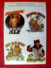 VINTAGE ALF CLAUDE THE CAT 4 X STICKERS POSTCARD UNIQUE  80's ALIEN LIFE FORM