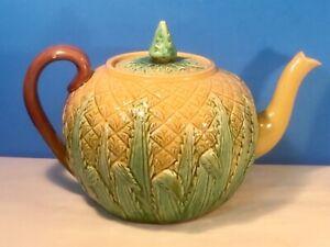 Antique Majolica Large Pineapple Teapot c.1800's