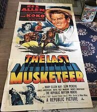 "1952 The Last Musketeer Original Movie Poster 81"" X 40"" Signed By Rex Allen"