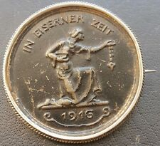 ✚9249✚ German WW1 Gold Donation Commemorative Iron Medal 1916 IN EISERNER ZEIT