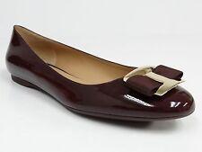 Salvatore Ferragamo Dark Burgundy Patent Kangaroo Ninna Bow Ballerina Flats 39C