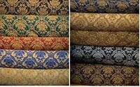"Fabric sold by yard Upholstery Drapery Chenille classic Damask design 60"" Wide"
