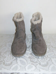 Size 4 Grey Suede Pull On Fleece Lined' Cotton Traders' Ankle Boots, V/G/Cond