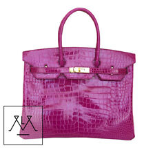 Hermes Birkin Bag 35cm Porosus Crocodile Rose Sheherazade GHW - 100% Authentic