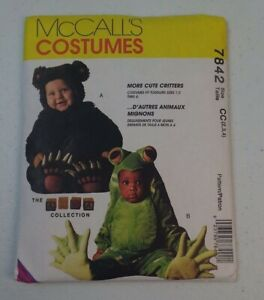 Vintage UNCUT McCall's Costumes Pattern 7842 Toddlers Bear Frog Jumpsuit