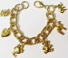 bracelet maillon gourmette couleur or pampilles animaux coeur gravé * A13