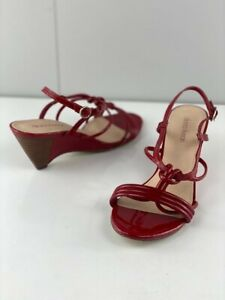 Diana Ferrari Womens Red Leather Strappy Wedge Heels Open Toe Comfort Size 7.5