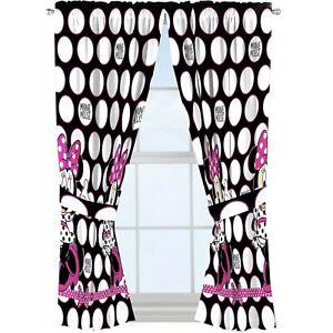 "Disney Minnie Mouse Window Panels (2) Curtains W/ Tie Backs 42"" X 63"" NEW"