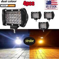 4X Dual Color 4 Inch LED Cube Work Light Pod White Amber Strobe OffRoad Fog Lamp