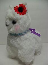 """""""Antique"""" Alpacasso White Alpaca Red Flower & Pearls 16cm Plush Amuse Arpakasso"""