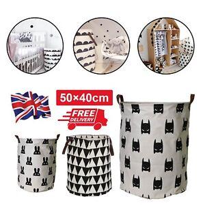 UK Useful Baby Kids Toy Canvas Laundry Basket Storage Bag Leather Handle
