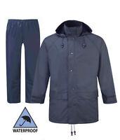Mens Flex Jacket Hooded Waterproof & Men's Flex Waterproof Over Trousers Blue