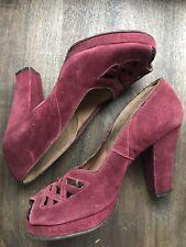 1940s Red High Heels Vintage Sz 8 Platform Pinup Rockabilly