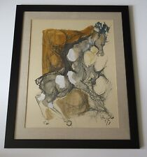 LEBADANG? VINTAGE ABSTRACT PAINTING MODERNISM EXPRESSIONISM 1960'S HORSE ASIAN