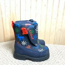 LL Bean Toddler Boys Girls 7 Winter Boots Navy Blue Reindeer Snowflake Printed