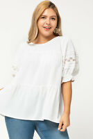 Entro White Crochet Lace Tiered Tunic Top Plus Size XL 1XL