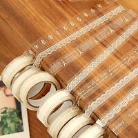 3PCS Roll DIY Washi Paper Lace Decorative Sticky Paper Masking Tape Adhesive