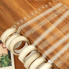 3PCS Roll DIY Washi Paper Lace Decorative Sticky Paper Masking Tape Adhesive