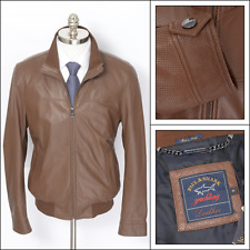 New PAUL & SHARK Brown Perforated Leather Zip Bomber Coat Jacket 50 M 40 NWT $3K