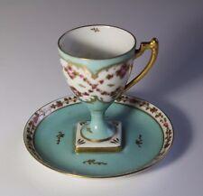 Limoges Tall Footed Robins Egg Blue Pink Roses Porcelain Demitasse Cup & Saucer
