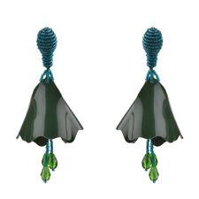 Boucles d'Oreilles CLIP Chandelier Pétale Resine Mini Perle Vert Artisanal J11