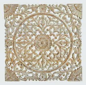 Wandornament Mango Holz 50x50 cm shabby Ornament Holzornament Holzbild creme