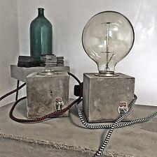 Betonlampe Vintage Design Lampe Nachttischlampe Edison Beton Würfel Grau Loft