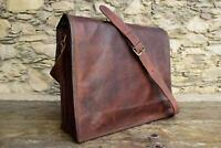 Men's Super Genuine Vintage Brown Leather Messenger Shoulder Laptop Bag computer