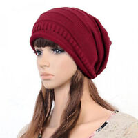 Womens Knitted Knit Line Stitched Woolly Winter Oversized Slouch Beanie Hat Cap