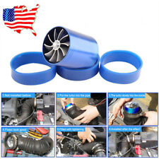 US Air Intake Turbonator Dual Fan Turbine Gas Fuel Saver Turbo Supercharger Blue