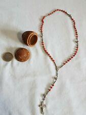 Chapelet perles corail rouge étui corozo sculpté-Antic Coral rosary & corozo box