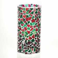 """Christmas Handmade Stained Glass Mosaic Pillar Candle Holder - 7.5 """" Red & Green"""