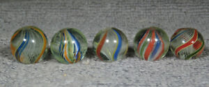 """GROUP OF 5 HANDMADE MARBLES  21/32"""" - 23/32"""" NM+/M-"""