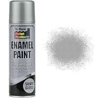 1 x Enamel Silver Gloss Paint Spray Aerosol 200ml Radiator Metal Wood Etc. Tough
