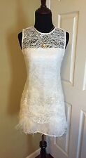 BRAND NEW ALEXIS LIZZY WHITE LACE FEATHER COCKTAIL EVENING PARTY DRESS L NWT