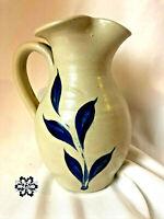"""1993 Williamsburg Pottery 6"""" Stoneware Pitcher Vase Cobalt Blue Leaf Salt Glazed"""