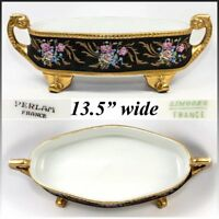 """LG 13.5"""" Antique Hand Painted Limoges, France, French Centerpiece, Gold Enamel"""