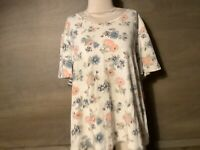 BLAIR Womens FLORAL Top TEE Size XL ROUND Neck SHORT SLEEVE IVORY PEACH