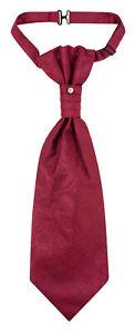 Vesuvio Napoli PreTied ASCOT Paisley Solid BURGUNDY Color Cravat Men's Neck Tie