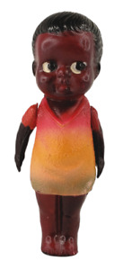 "Antique Celluloid Doll Black Americana African American Japan 4.5"" w/Sticker Vtg"