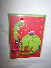 Papyrus Christmas Greeting Card/Envelope; Dinosaur with Gift & Scarf