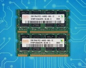 4GB (2x2GB) PC2-6400s DDR2-800MHz Non-ECC 2Rx8 Hynix HYMP125S64CP8-S6