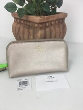 Coach Cosmetic Bag 17 Crossgrain Leather F23332 Platinum Gold  Zip M6