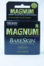 3 Pack Trojan Magnum BareSkin Thin Large Size Condoms Latex Lube Lubricated NEW